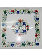Marble Side Coffee Table Top Marquetry Floral Multi Inlay Furniture Decor H5322