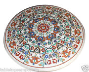 3.5and039x3.5and039 Marble Round Dining Table Top Handmade Marquetry Mosaic Art Home Dandeacutecor