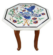 15 White Marble Top Table With Stand Lapis Birds Art Inlay Marquetry Work Decor
