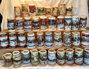 Lot Of 38 Budweiser Clydesdaleand039s Holiday Beer Stein Christmas Mugs 1980-2008