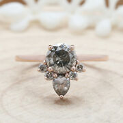 Salt And Pepper Round Diamond 14k Solid Rose Gold Ring Engagement Gift Kdk1959
