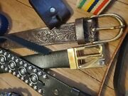 Vintage Tooled Western Leather Metal Brass Buckle Retro Snakeskin And More Lot