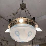 Antique Beaux Arts Five Light Frosted Globe Ceiling Light Chandelier Shabby Chic