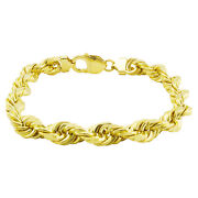 14k Yellow Gold Solid 10mm Wide Mens Diamond Cut Rope Chain Bracelet 8 8.5 9