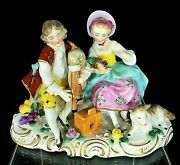 Sevres Style Chelsea England Porcelain 18th Century Marked Figurine Rococo Style