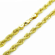 10k Yellow Gold Solid Mens Thick 6mm Diamond Cut Rope Chain Necklace 20- 30