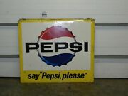 Vintage Pepsi-cola Metal Bottle Cap Sign Yellow 46.5 X 42 Great For Barn Decor