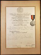King George V Autograph Hand Signed Certificate 1904 And Silver Jubilee Medal 1935
