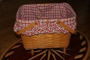Longaberger Picnic Basket Large With Flip Lid Attached, Stand And Liner