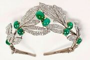 Green Cabochon Tiara Solid 925 Sterling Silver Leaf Style Handmade Hair Jewelry