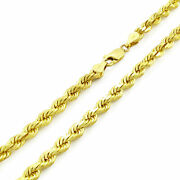 Solid 10k Yellow Gold 5mm Diamond Cut Rope Chain Necklace W/ Lobster Clasp- 24