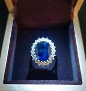 Sapphire And Diamond Ring Size 7 Custom Made One-of-a-kind 18kt White Gold