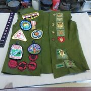 Vintage Boy Scout Green Vest With 40+ Patches And 5 Pins