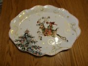 Williams Sonoma Christmas Twas The Night Large Reindeer Scalloped Oval Platter