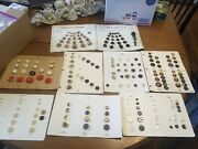 Vintage Salesman 9 Sample Cards Plastic And Wood Sewing Buttons
