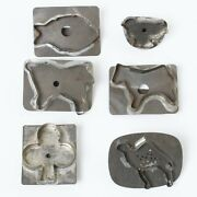 Set Of 6 Antique Flat-back Tin Cookie Cutters Animals Camel Fish Chick And Clover