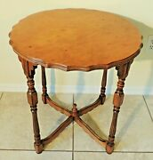 Exceptional Antique/vtg Tiger Maple Scalloped And Carved Round Accent Table