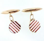 15k Round Cufflinks_total Weight 8.75 Grams_yellow Gold_red And White Stripes