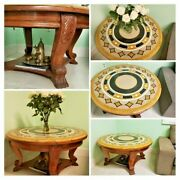 Top Stone Marble Round Coffee Table Solid Wood Base