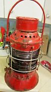 Antique The Non Sweating Adlake Lamp Chicago New York State Canal Lamp Red Globe