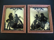 Pair Of Black Victorian Couple Framed Silhouette Pictures