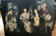 F. Neccaria Oil Canvas Portraits Four Asian Girls Playing Music 40x30.