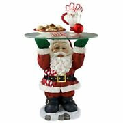 21.5h Santa Claus Sculptural Glass Topped Holiday Table By Design Toscano