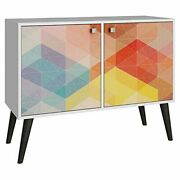Avesta Double Side Table. 2.0 With 3 Shelves In White/ Stamp