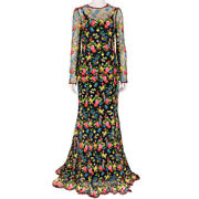 Dolce And Gabbana Floral Embroidered Full-length Dress Gown It44 Uk12