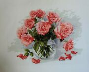 Cross Stitch, Finished Cross Stitch, Completed Cross Stitch, Embroidery, Roses