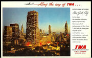 1955 Twa Airlines New York City Skyscrapers At Night Super Rare Vintage Postcard