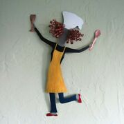 Chef Lady Handmade Metal Wall Art Cooking Decor Red Head Yellow Apron Dancer