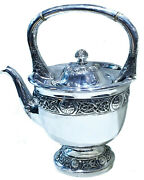 Antique Irish Silver Teapot With Celtic Tracery Ca. 1900andrsquos