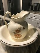 Vintage Antique Large Water Pitcher And Basin Bowl Beige Flowers