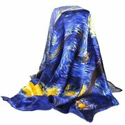 Women Casual Scarves Silk Spring Fall Van Oil Painting Square Wrap Scarf 90x90cm