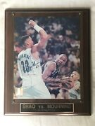 Shaquille Oand039neal And Alonzo Mourning Autographed Nba Photograph On Wood Plaque