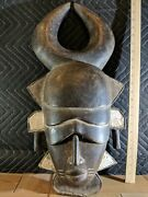 Large Heavy Mask With Prominent Horns Andmdash Great Detail Andmdash Authentic Carved Wood Art