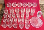 Vintage English Cut Glass Decanter And Glasses Set - 31 Pieces