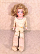 Antique German Baby Doll With Leather Body Blonde Hair No Clothes Hinged Joints