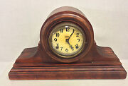 Antique Ingraham Clock Tambour Case With Arabic Numerals Bell And Gong Strike Ru