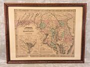 A J Johnson's Map Of Delaware And Maryland W/ Inset Of District Of Columbia 1855 C