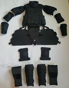 Black Size S Set Body Armor Gear Protection Vest And Leg And Arm Bulletproof Pads
