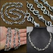 20 51cm 75g Dragon Rings Snake Chain 925 Sterling Solid Silver Mens Necklace