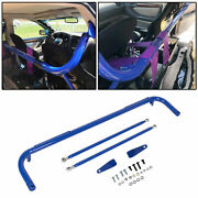 Blue Stainless Steel Racing Safety Seat Belt Chassis Roll Harness Bar Kit Rod