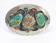 American Indian Metal And Silver Chief Turquoise Coral Belt Buckle