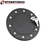 For 09-14 Ford F150 Pickup Truck Matte Black Aluminum Fuel Gas Door Cover W/lock