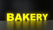 6pc Bakery Led Black Side Panels, Storefront Sign, Complete And Ready To Install