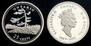 1992 Canada 125th Ontario 25 Cents Silver Proof Quarter