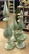 Set Of 3 Pearlized Finish Glass Finials By Valerie