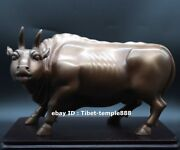 27 Cm Red Copper Bronze Chinese Zodiac Lucky Fengshui Animal Ox Oxen Bull Statue